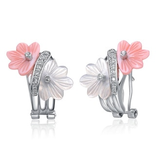Collette Z Silver Pink and White Mother of Pearl and Cubic Zirconia Earrings