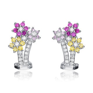 Collette Z Sterling Silver Multi-colored Cubic Zirconia Flower Earrings