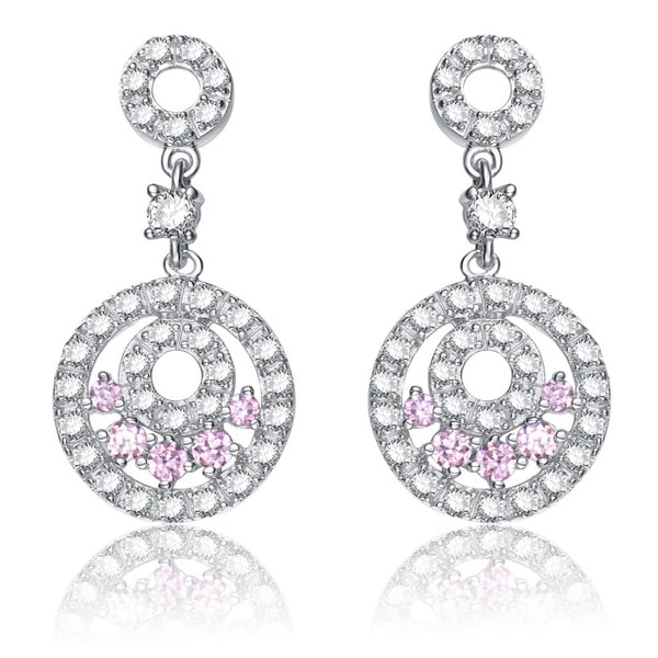 Collette Z Sterling Silver Pink and Clear Cubic Zirconia Circle Drop Earrings