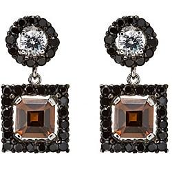 Collette Z Sterling Silver Mulitcolor Cubic Zirconia Dangle Earrings
