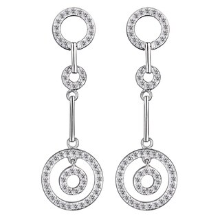 Collette Z Sterling Silver Clear Cubic Zirconia Circle Dangle Earrings