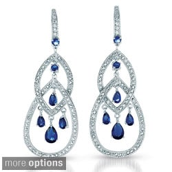 Collette Z Platinum over Sterling Silver Blue and Clear Cubic Zirconia Earrings