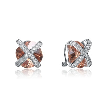Collette Z Sterling Silver Champagne and Clear Cubic Zirconia Earrings