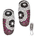 Collette Z Sterling Silver Red, Clear and Black Cubic Zirconia Earrings