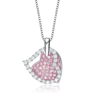 Collette Z Sterling Silver Pink and Clear Cubic Zirconia Double Heart Necklace