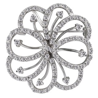 Collette Z Sterling Silver Clear Cubic Zirconia Flower Brooch
