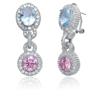 Collette Z Sterling Silver Blue, Pink and Clear Cubic Zirconia Dangle Earrings