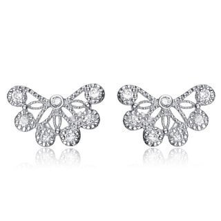 Collette Z Platinum over Silver Clear Cubic Zirconia Lace Design Earrings