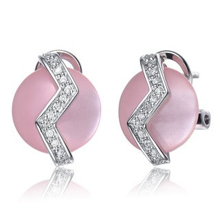 Collette Z Sterling Silver Pink Mother of Pearl and Clear Cubic Zirconia Earrings