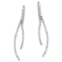 Collette Z Sterling Silver Clear Cubic Zirconia Linear Curve Earrings