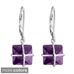 Collette Z Sterling Silver Square-cut Cubic Zirconia Dangle Earrings