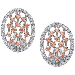 Collette Z Rose Gold and Sterling Silver Clear Cubic Zirconia Lattice Earrings