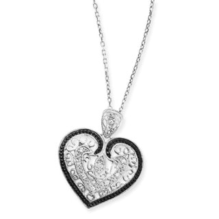 Collette Z Sterling Silver Clear Cubic Zirconia Filigree Heart Necklace