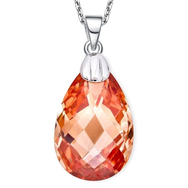 Collette Z Sterling Silver Orange Cubic Zirconia Drop Necklace
