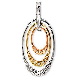 Collette Z Three-tone Sterling Silver Cubic Zirconia Oval Necklace