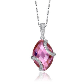 Collette Z Sterling Silver Pink and Clear Cubic Zirconia Necklace
