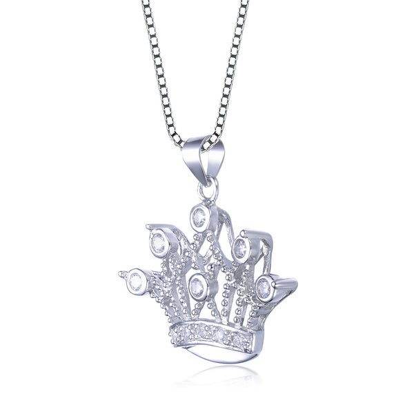 Collette Z Sterling Silver Cubic Zirconia Crown Necklace