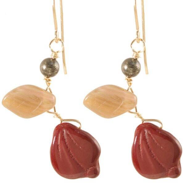 14k Gold Fill Burgundy and Mauve 'Vines of Tenacity' Earrings