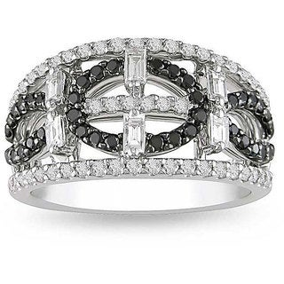 18k White Gold 1ct TDW Black and White Diamond Ring (G-H, I1-I2)