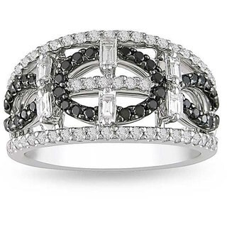 Miadora 18k White Gold 1ct TDW Black and White Diamond Ring (G-H, I1-I2)