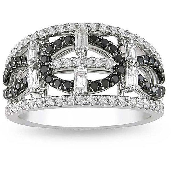 Shira Design 18k White Gold 1ct TDW Black and White Diamond Ring (G-H, I1-I2)