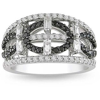 Miadora 18k White Gold 1ct TDW Black and White Diamond Ring (G-H, I1-I2)