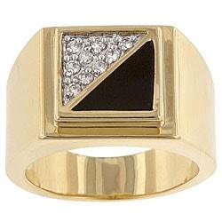 Kate Bissett Brass and Black Enamel Men's Clear Cubic Zirconia Ring