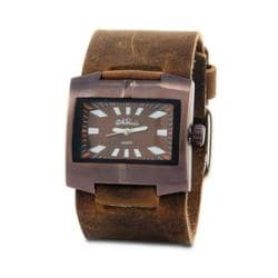 Nemesis Men's Classic Stainless Steel Leather Cuff Watch