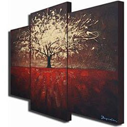 'Golden Foliage' Hand-painted Canvas Art