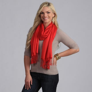 Peach Couture Chemical-free Handmade  Bamboo Pashmina Red Rayon Wrap