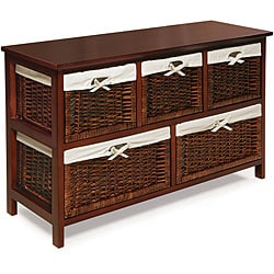 Badger Basket Five Basket Storage Unit in Cherry