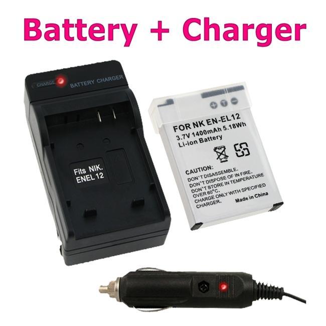 Insten Compact Battery Charger Set/ Lithuim-ion Battery for Nikon EN-EL12
