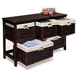 Espresso Wooden Storage Cabinet with Wicker Baskets