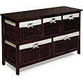 Espresso Wooden Storage Cabinet with Wicker Baskets