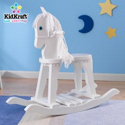 KidKraft Derby Rocking Horse with White Finish and Wool Mane