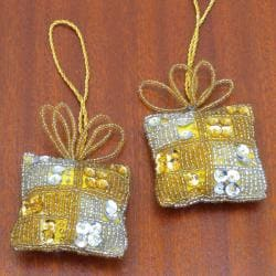 Set of 2 Goldtone Gift-shaped Holiday Ornaments (India)