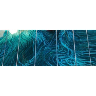 Ash Carl 'Blue Flux' 7-panel Metal Wall Art