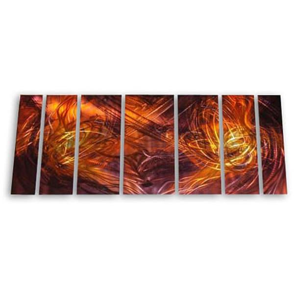 Ash Carl 'Dueling Flames' 7-piece Metal Art Set