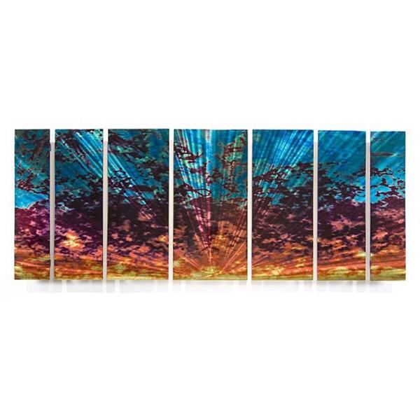 Ash Carl 'Cloudy Sunset' 7-piece Metal Wall Art Set
