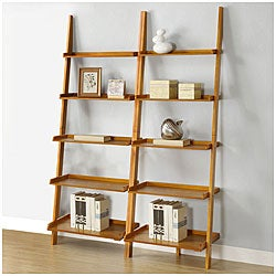 Oak Five-tier 2-piece Leaning Ladder Shelf Set