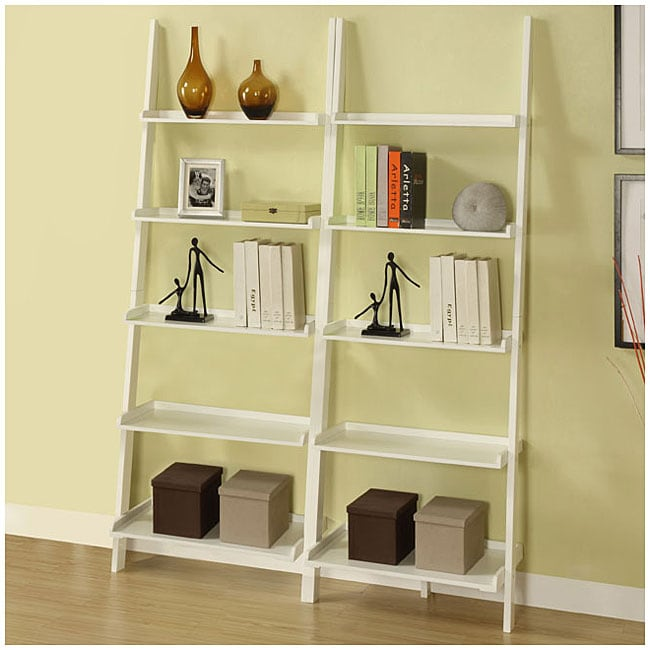 White Five-tier 2-piece Leaning Ladder Shelf Set