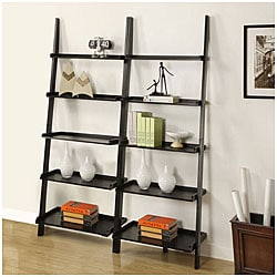 Black Five-tier 2-piece Leaning Ladder Shelf Set