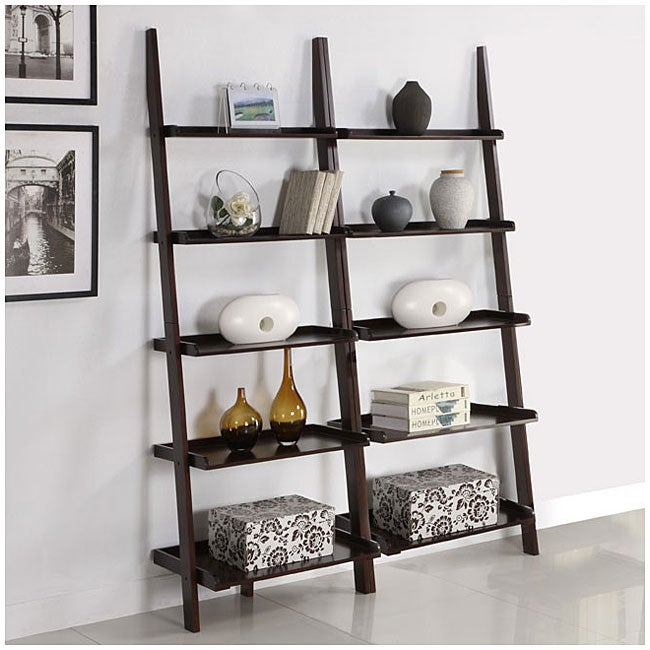 Walnut Five-tier 2-piece Leaning Ladder Shelf Set