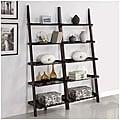 Walnut Five-tier 2-piece Leaning Ladder Shelf Set