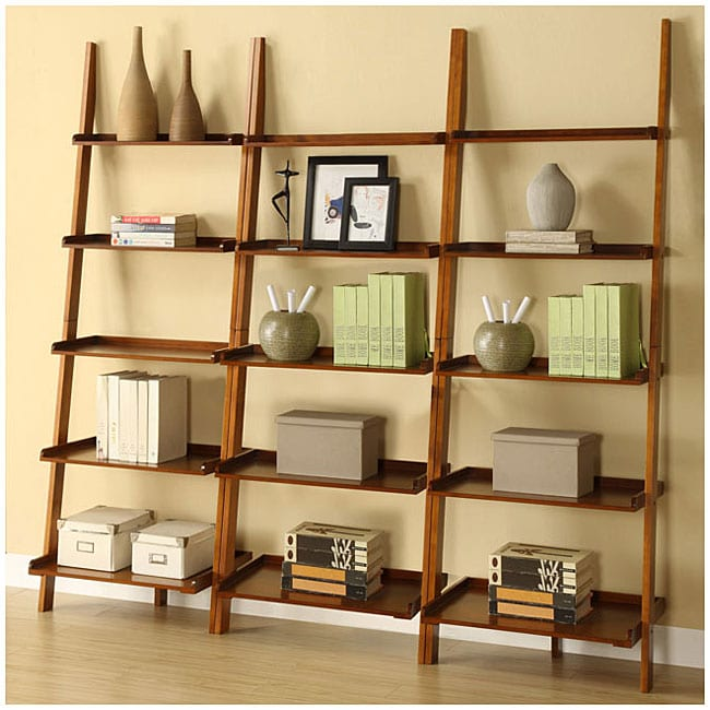Mahogany Five-tier 3-piece Leaning Ladder Shelf Set
