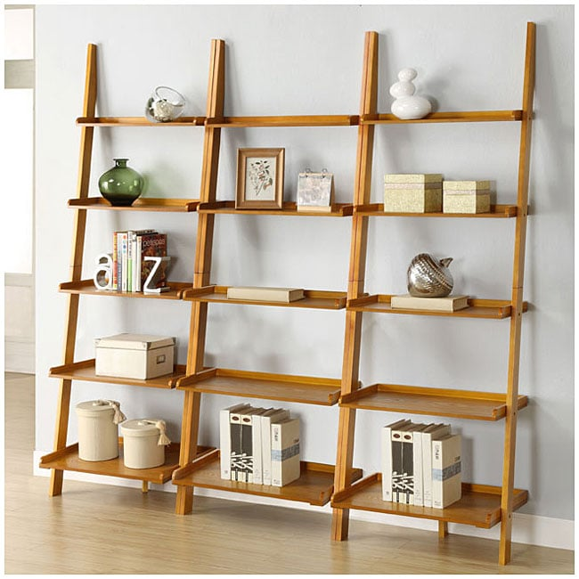 Oak Five-tier 3-piece Leaning Ladder Shelf Set - 13101652 - Overstock ...