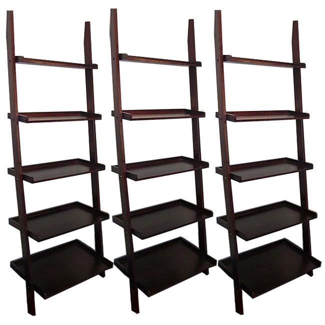 Cappuccino Five-tier 3-piece Leaning Ladder Shelf Set
