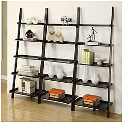 Black 5-tier Leaning Ladder Shelf (Set of 3)