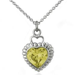 Stainless Steel Yellow Cubic Zirconia Heart Necklace