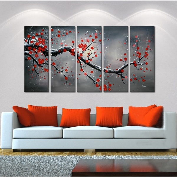 'Winter Plum' 5-piece Oil Hand Painted Canvas Art Set